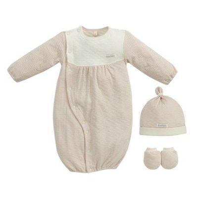 經典條紋系列-有機棉新生兒禮盒-秋冬款-粉紅-兩用妙妙裝x1+幼兒帽x1+x手套x1