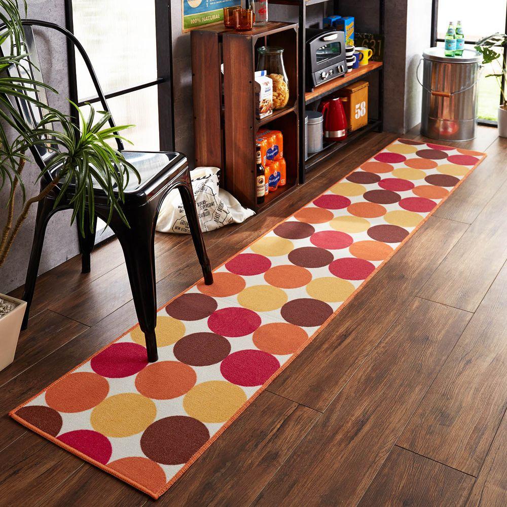 日本千趣會 - 質感長條型腳踏墊(廚房/臥室)-繽紛普普圓點-橘紅系
