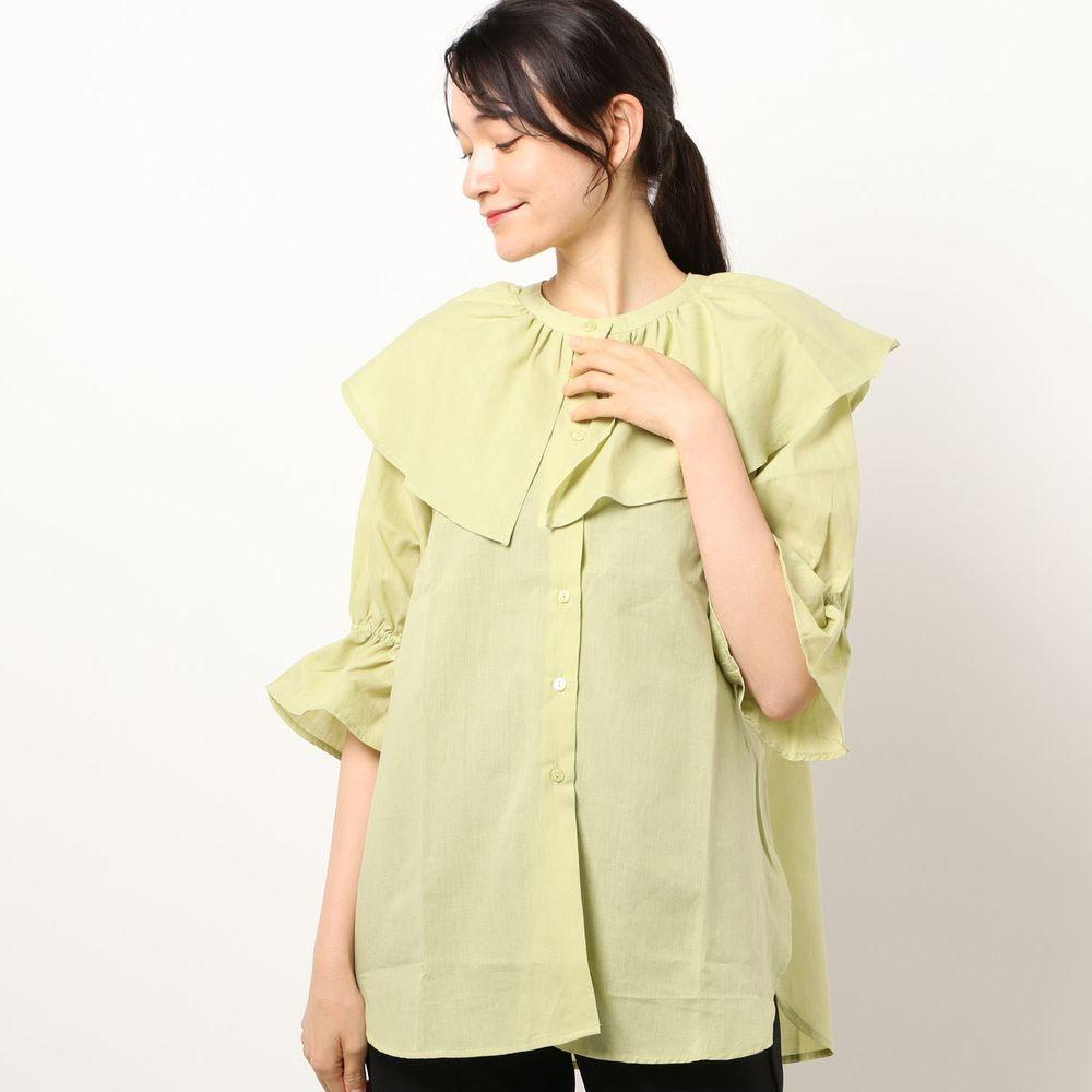 日本 Riche Glamour - 浪漫大荷葉五分袖襯衫-萊姆