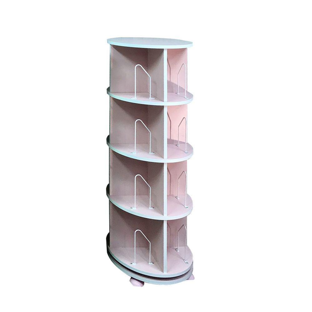第一博士 - 360° 旋轉書櫃-四層式(高度137cm)-蜜桃粉-支架16入+水平儀4入