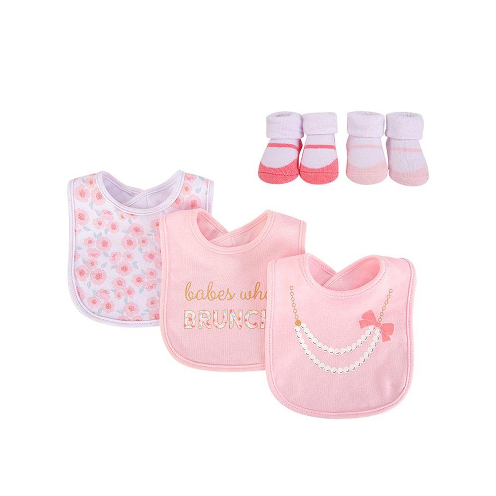 美國 Luvable Friends - 嬰幼兒雙層吸水口水巾圍兜與短襪組-甜美粉淑女