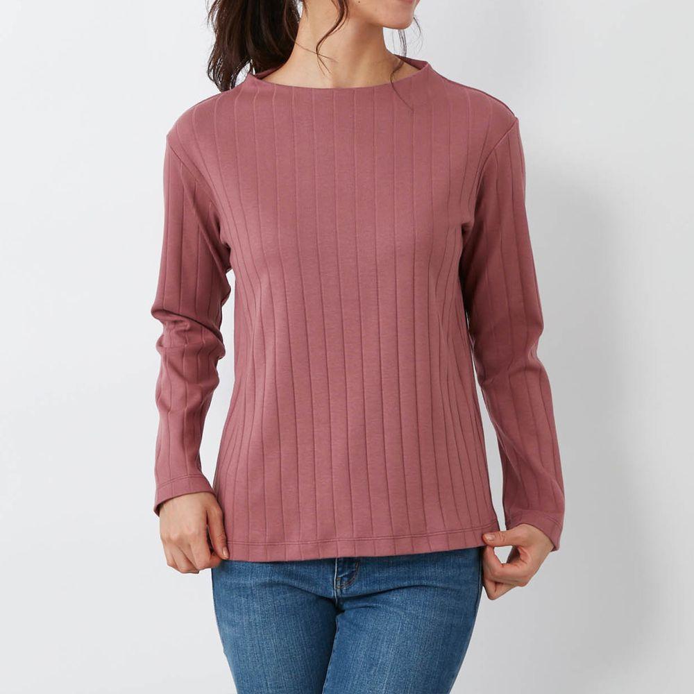 日本千趣會 - 100%棉 直條紋長袖發熱上衣-藕粉