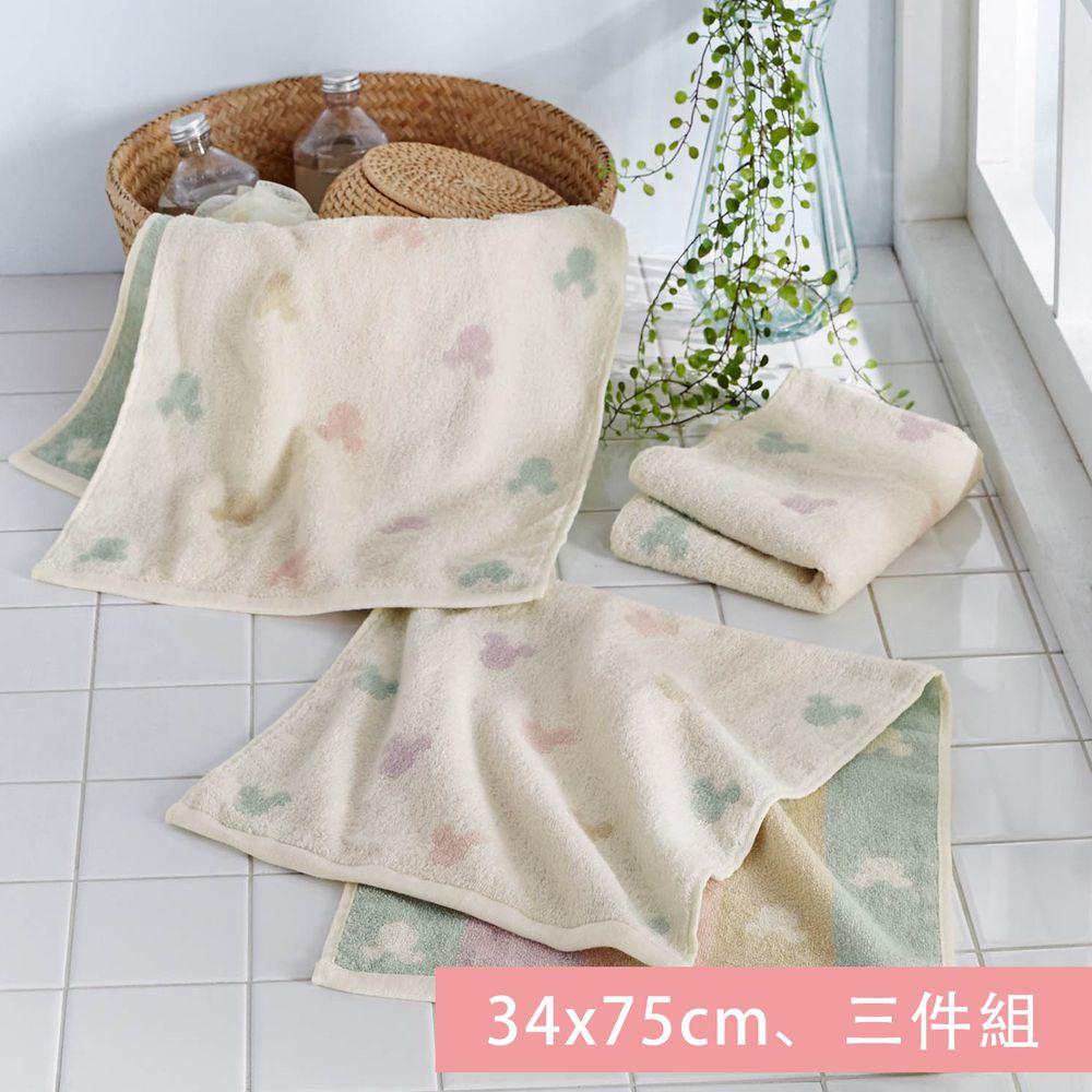 日本千趣會 - 迪士尼 純棉長毛巾三件組-米奇頭-彩色 (34x75cm)