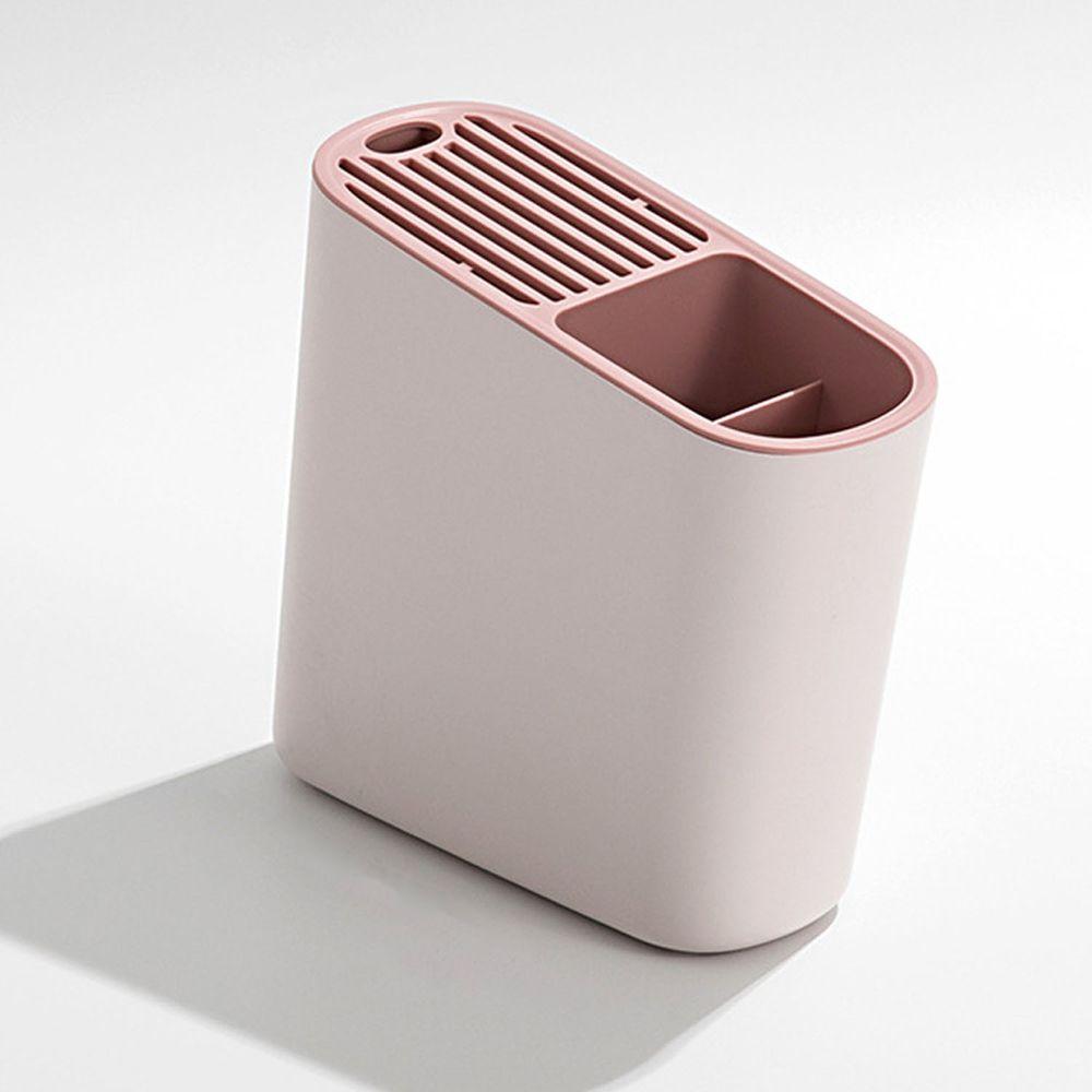 斜面瀝水刀具置物架-粉色
