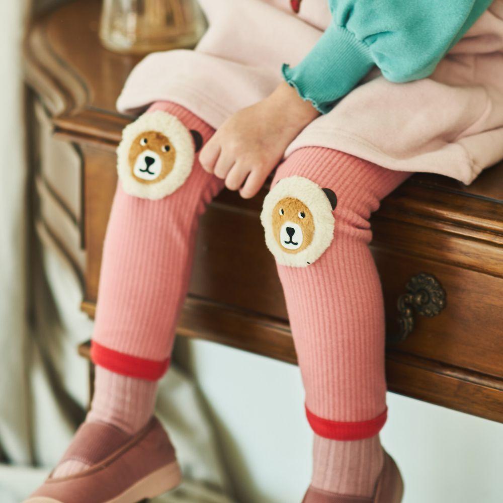 韓國 Mimico - (裏起毛)大熊補丁螺紋內搭褲-粉紅