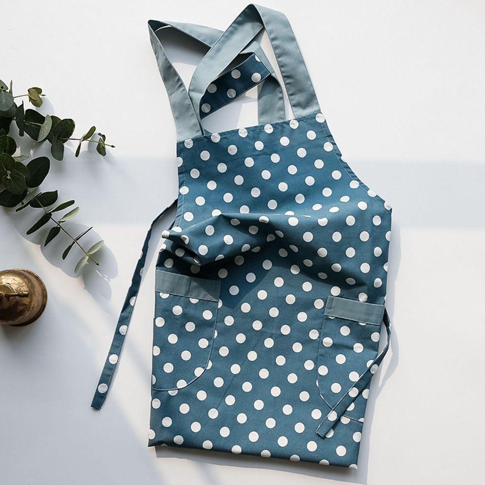 日系清新風圍裙-點點-淺藍色