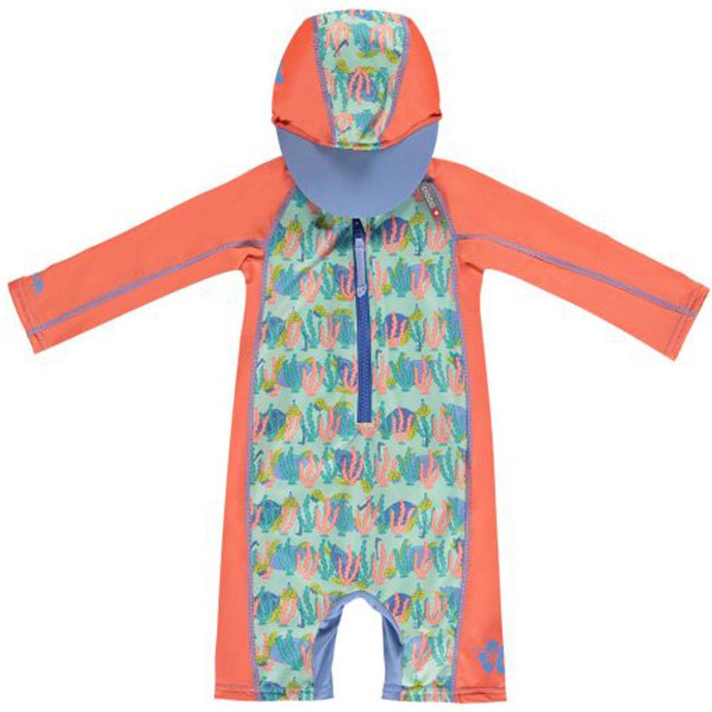 英國Pop-in - 嬰兒抗UV連帽海灘裝-海龜