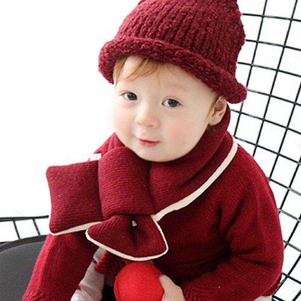 韓國 Babyblee - 鋪棉圍巾-酒紅 (FREE)
