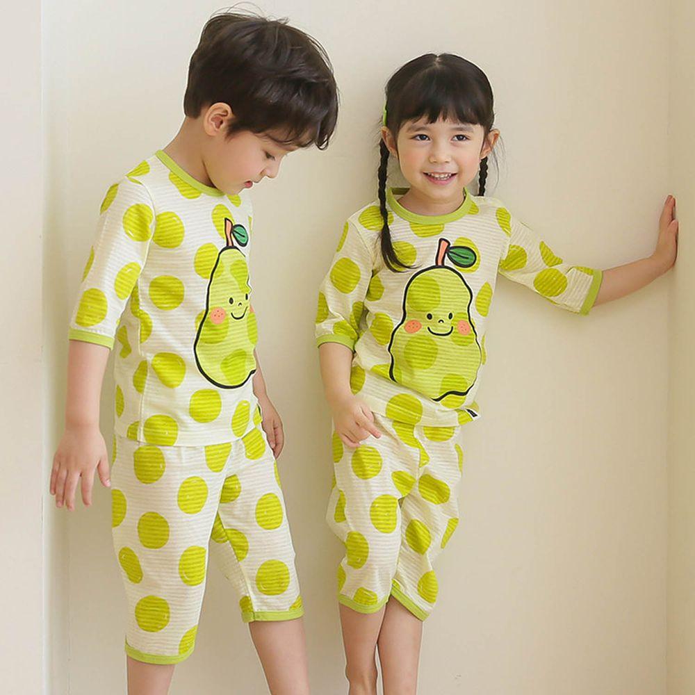 韓國 Puco - 有機棉透氣七分袖家居服-靦腆水梨