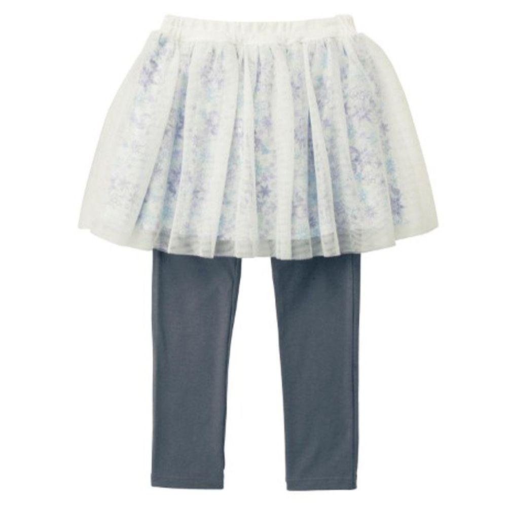 日本千趣會 - 迪士尼碎花薄紗內搭褲裙-艾莎-白X灰