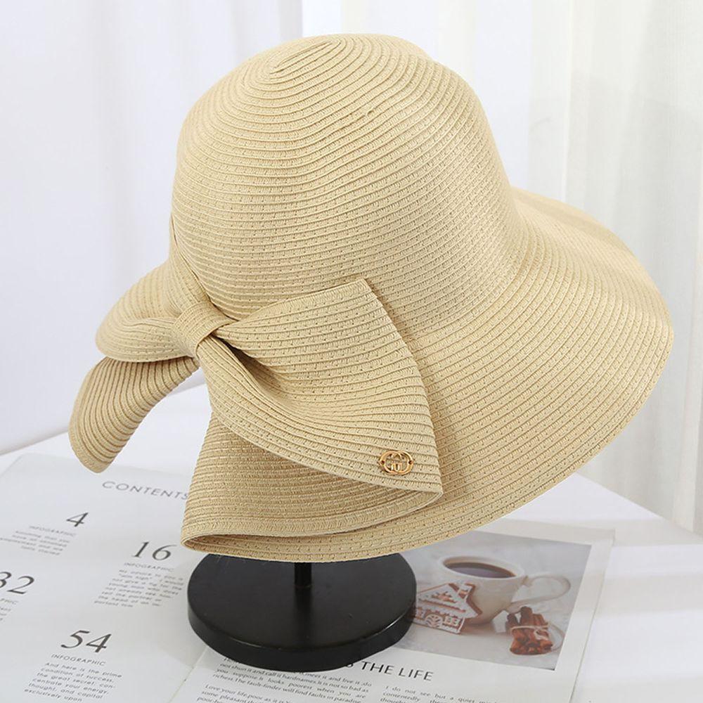 成人時尚大帽沿防曬草帽-蝴蝶結-米色 (56-58cm)