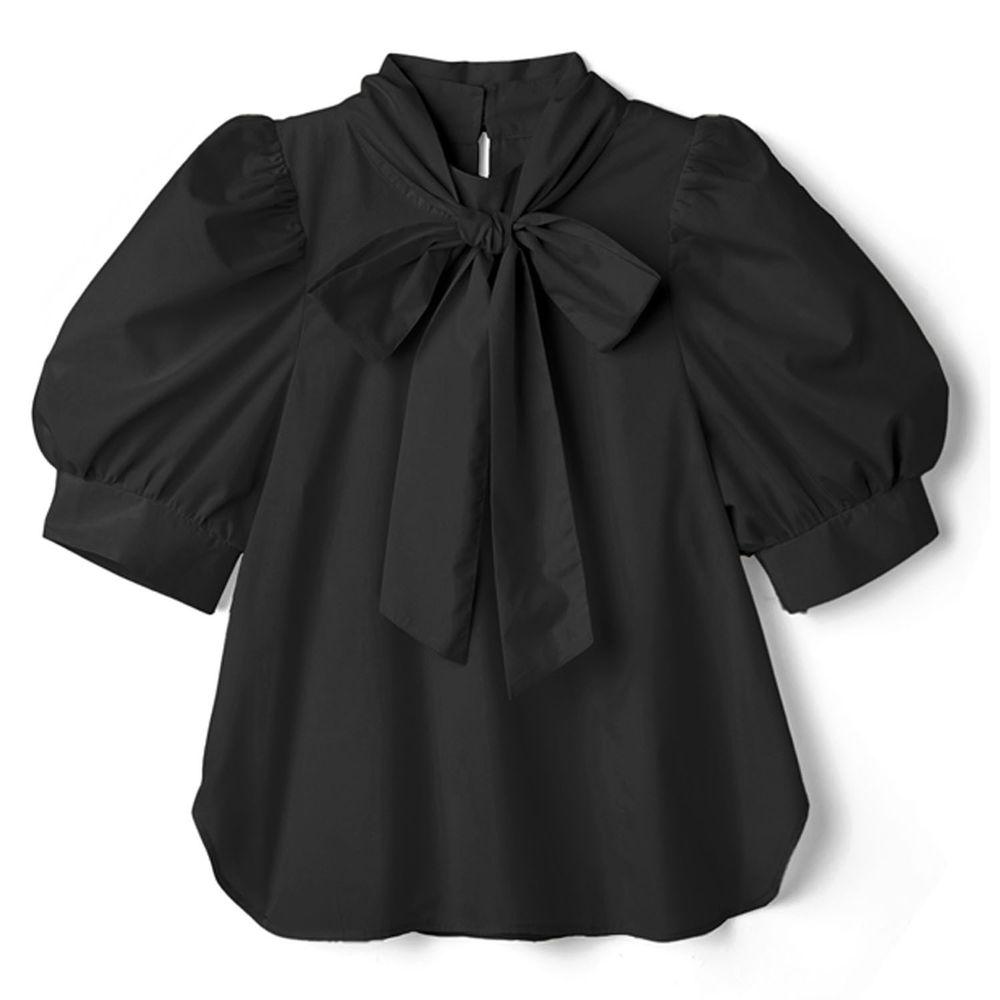 日本 GRL - 2way 蝴蝶結綁帶澎澎五分袖上衣-時尚黑