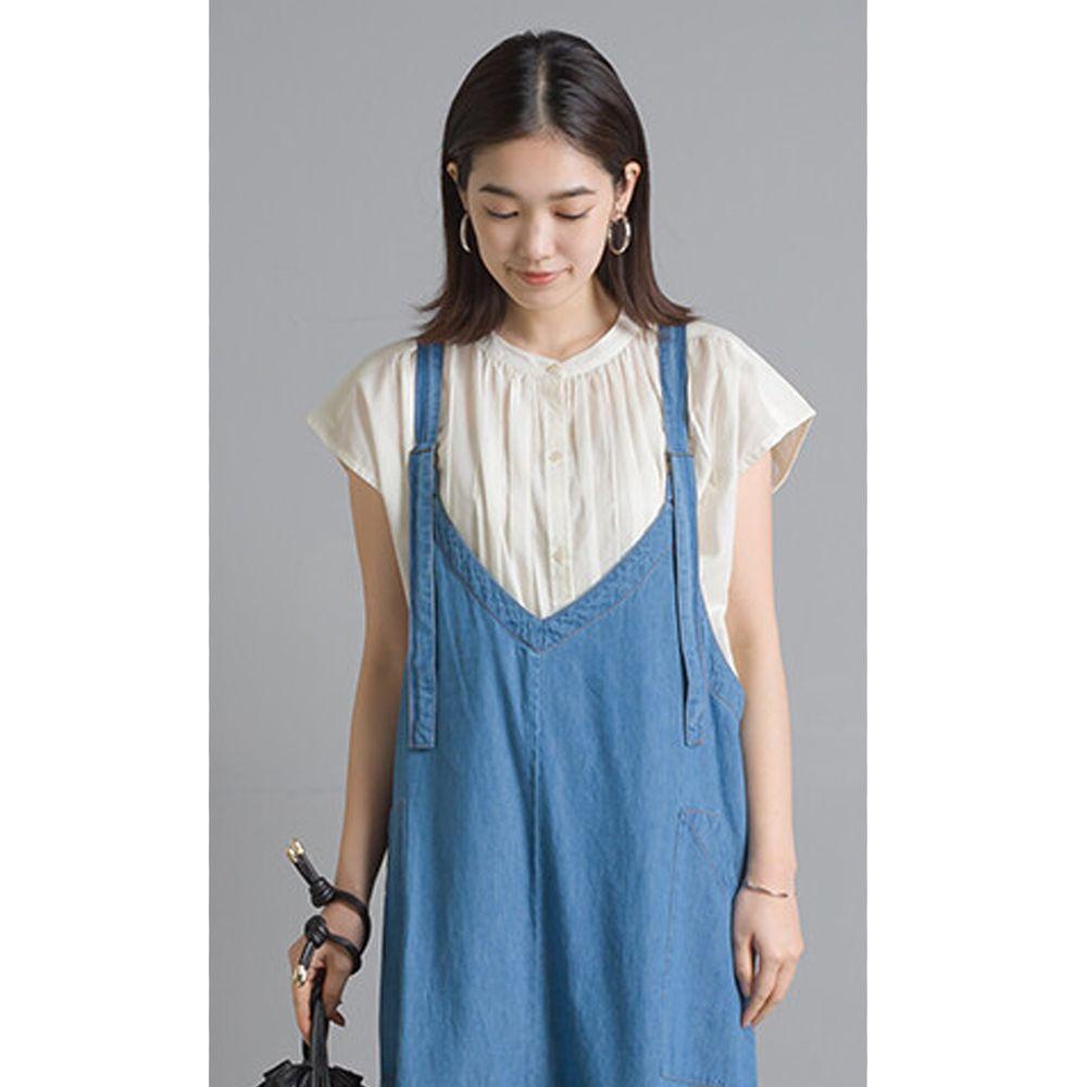日本 OMNES - 輕盈壓摺中山領純棉一分袖上衣-白 (Free size)
