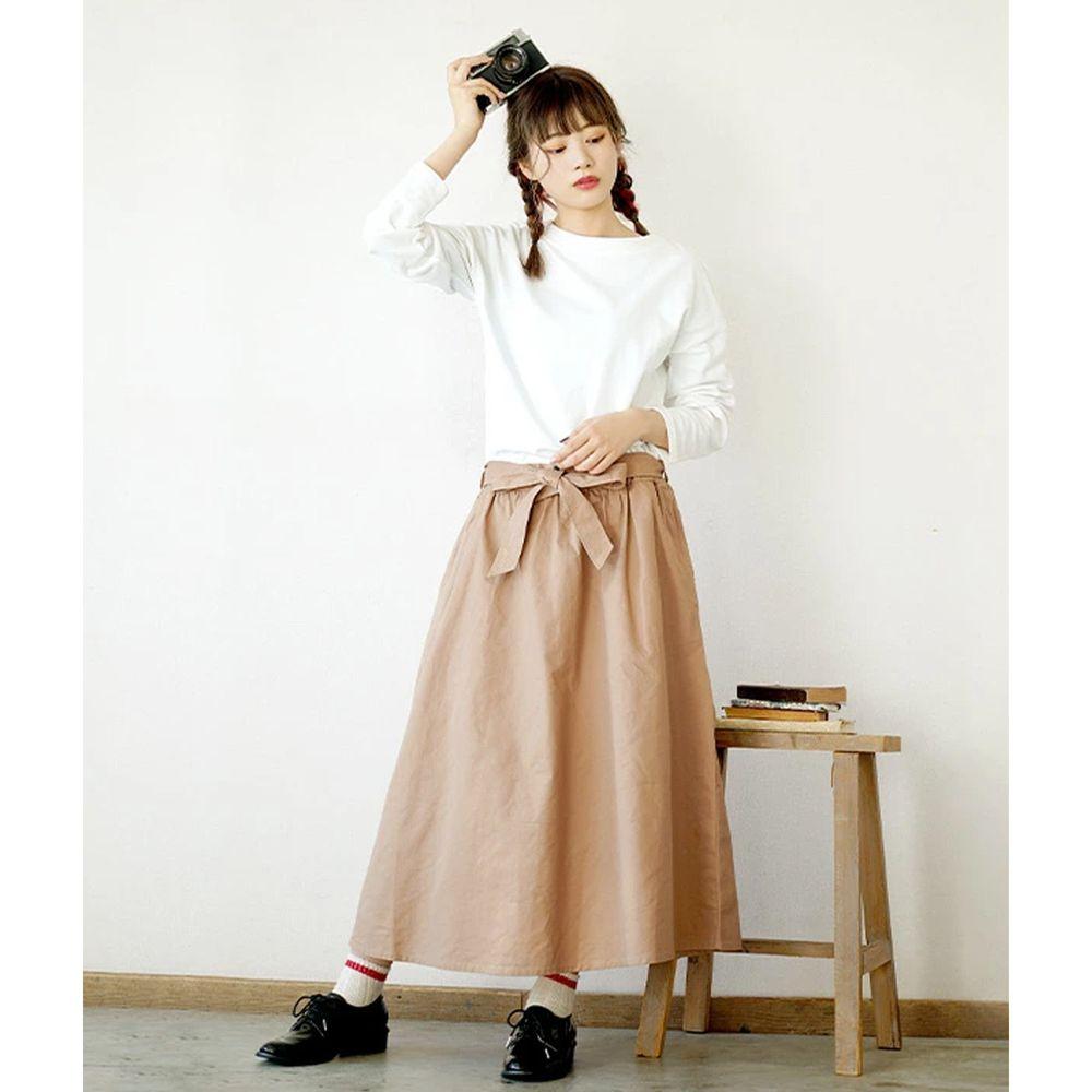 日本 zootie - 假兩件知性拼接洋裝-米/杏 (M)