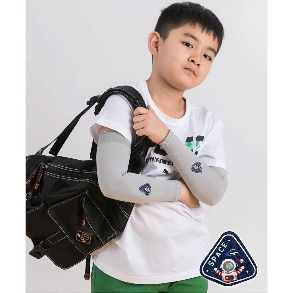 貝柔 Peilou - UPF50+兒童高效涼感防蚊抗UV袖套-(貼布繡)-太空人-灰 (F)