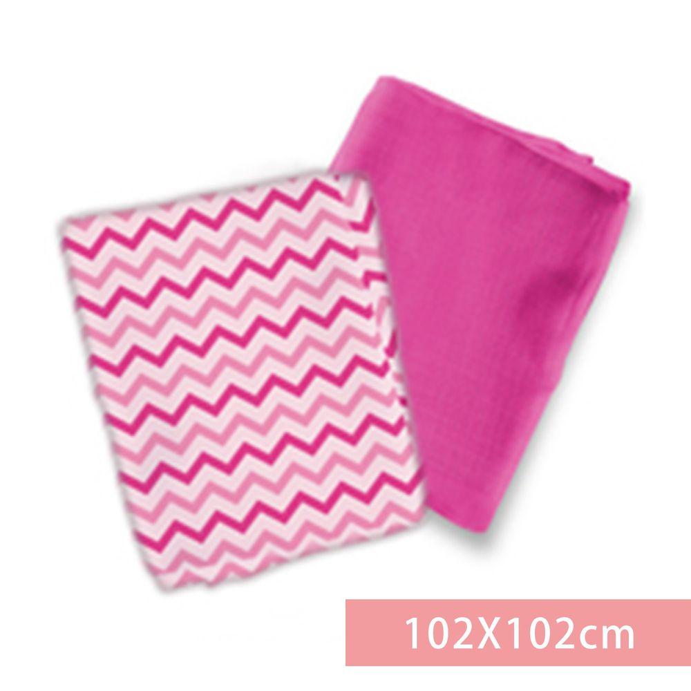 Summer Infant - 輕量細棉紗布寶寶毯2入組-粉紅簡約風-適用年齡:新生兒起皆適用