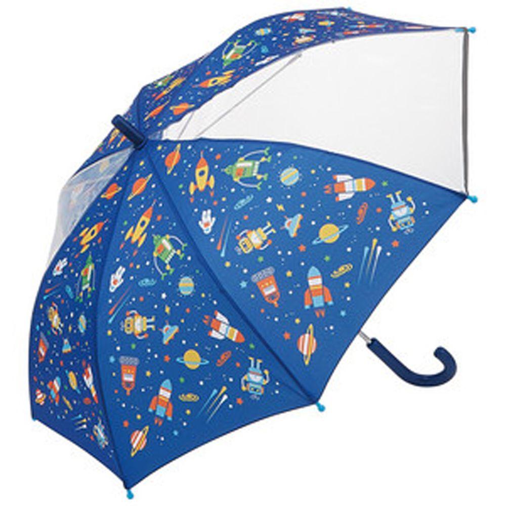 日本 SKATER 代購 - 兒童雙片透明直傘(附安全反光貼條)-宇宙機器人 (50cm(身高:115-125cm))