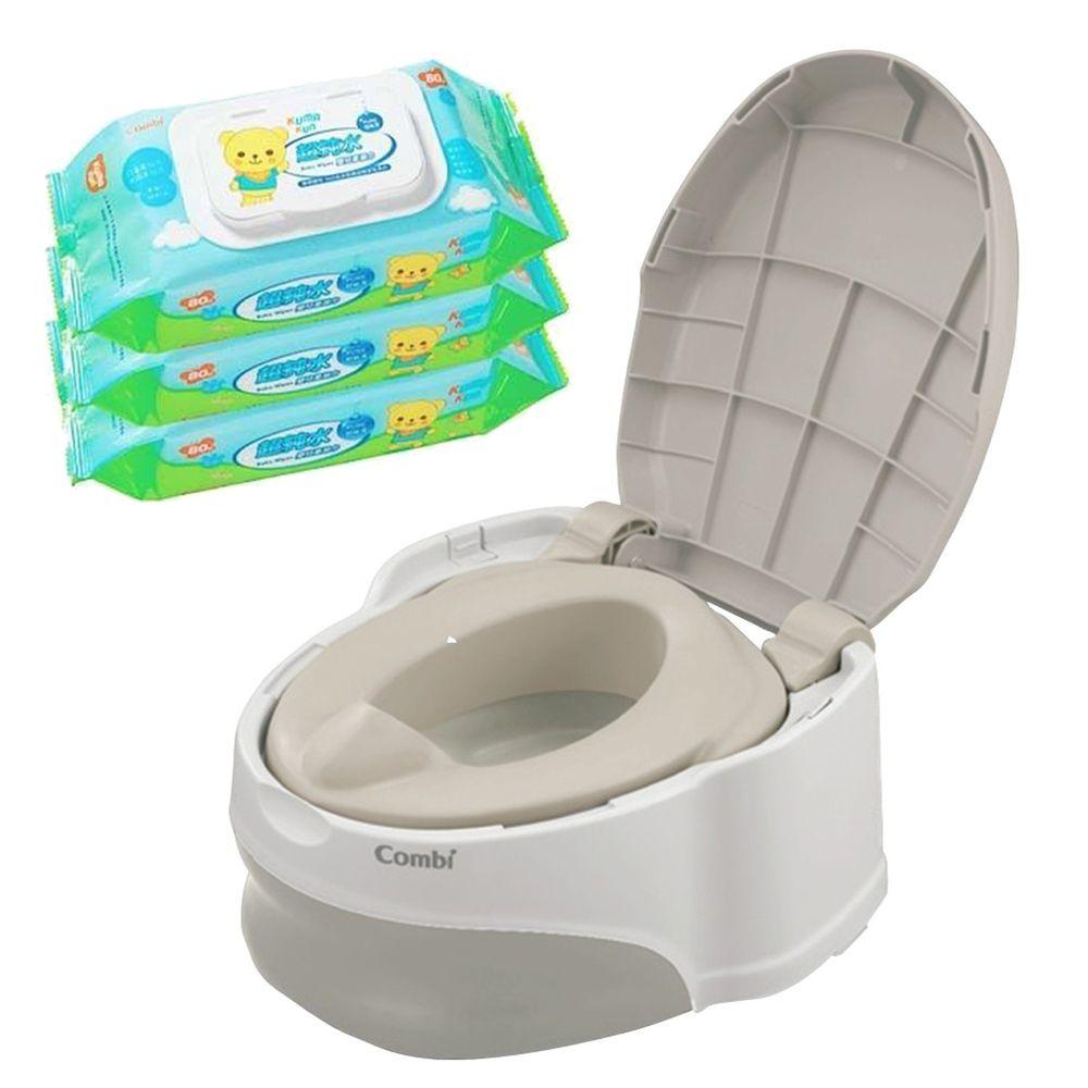 日本 Combi - 優質坐式分段訓練便器-灰卵石 (12個月起)-贈Kuma Kun超純水嬰兒柔濕巾80抽促銷組