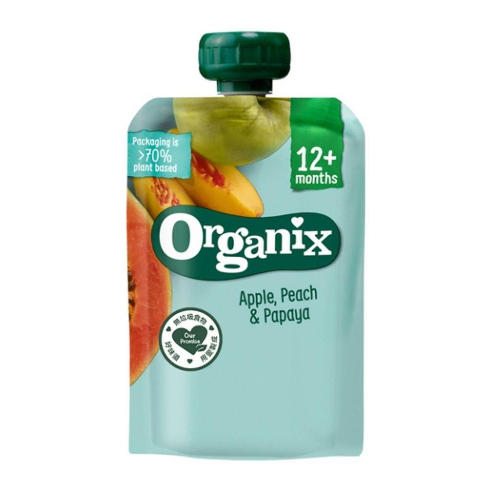 英國Organix - 水果纖泥-蘋果蜜桃木瓜