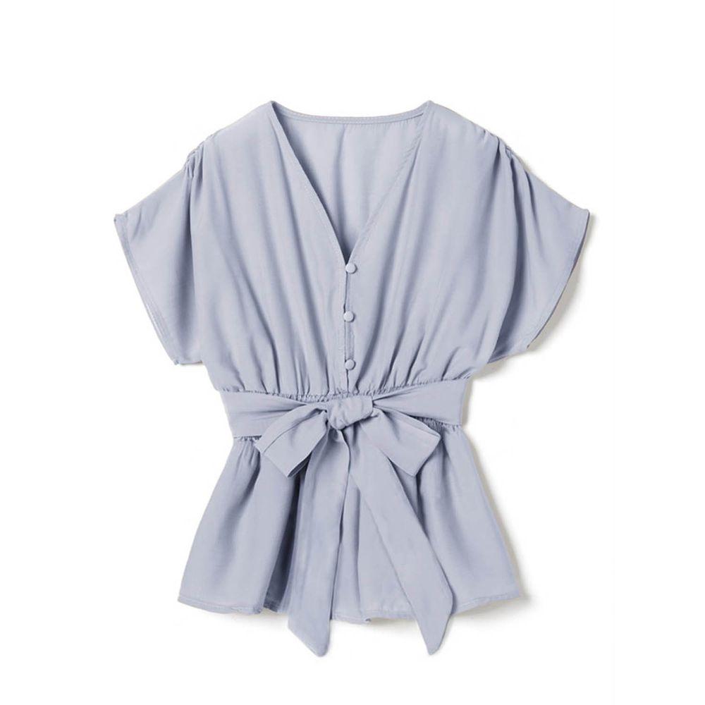 日本 GRL - 交叉V領綁帶短袖上衣-天使藍