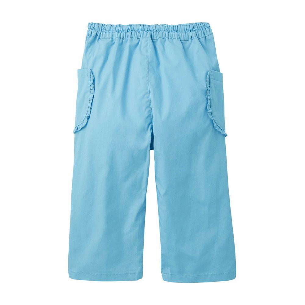 日本千趣會 - GITA 純棉接觸冷感七分褲-荷葉邊口袋-水藍