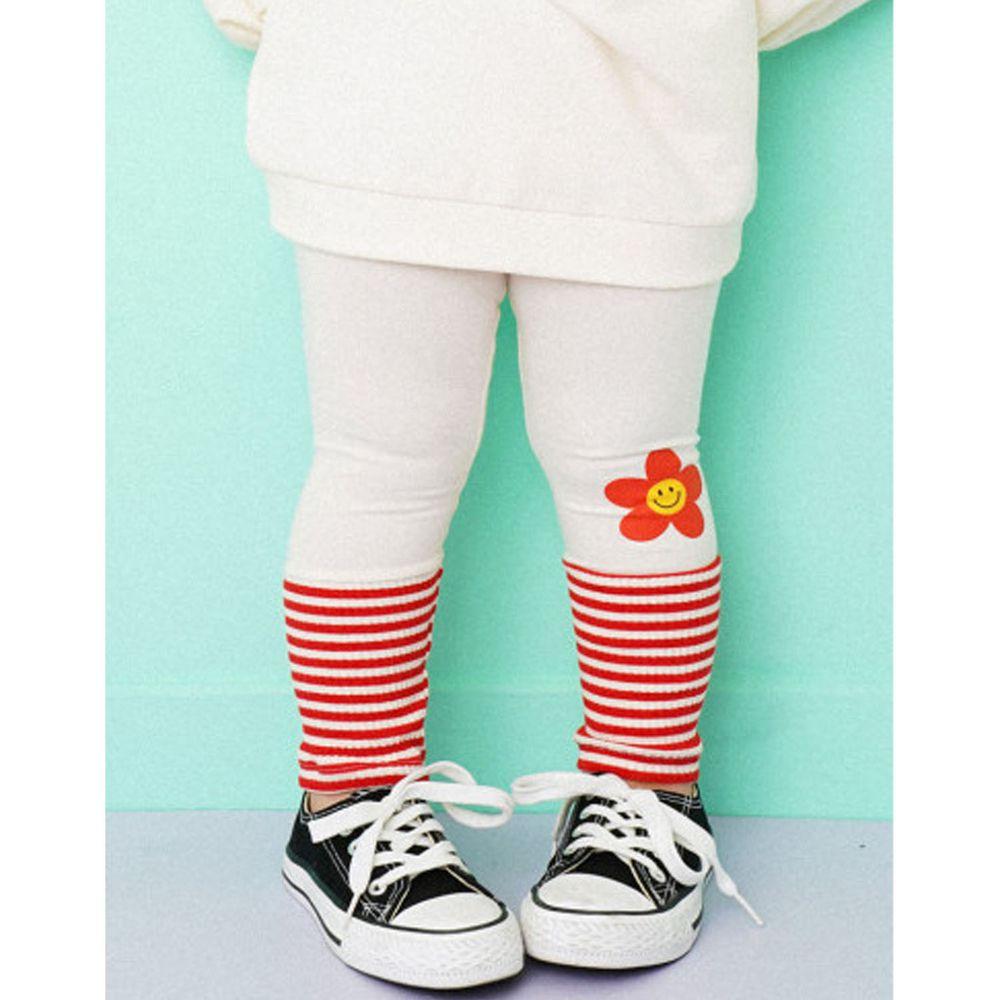 韓國 HEJMINI - 微笑花朵條紋內搭褲-象牙白