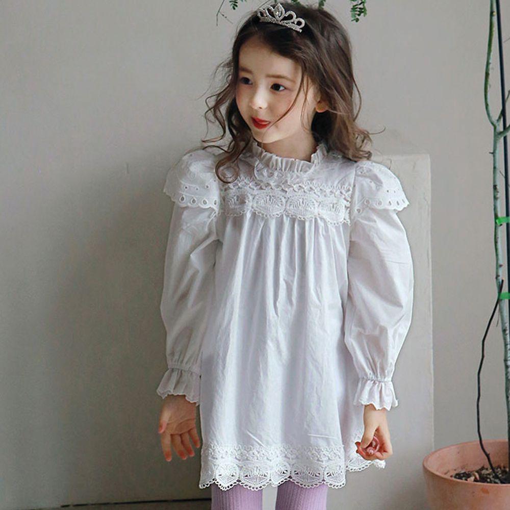 韓國 PuellaFLO - 圈圈鏤空立體領洋裝-象牙白