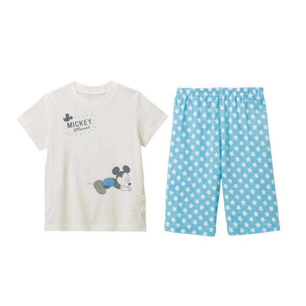 日本千趣會 - 迪士尼印花短袖家居服(夜光設計)-睡覺米奇-水藍
