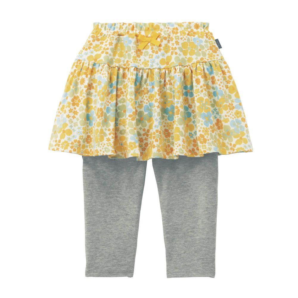 日本千趣會 - GITA 防曬接觸冷感七分內搭褲裙-碎花-黃灰