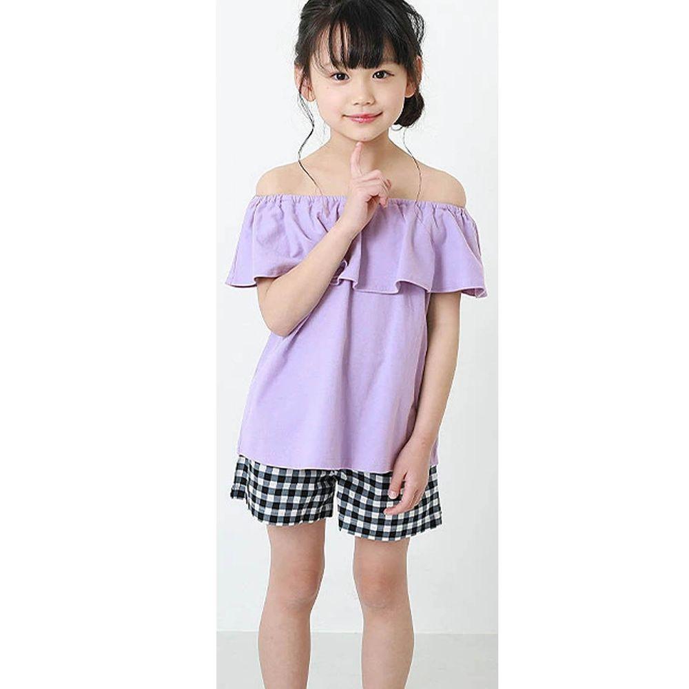 日本 devirock - 荷葉衣領無袖T/親子裝-浪漫紫
