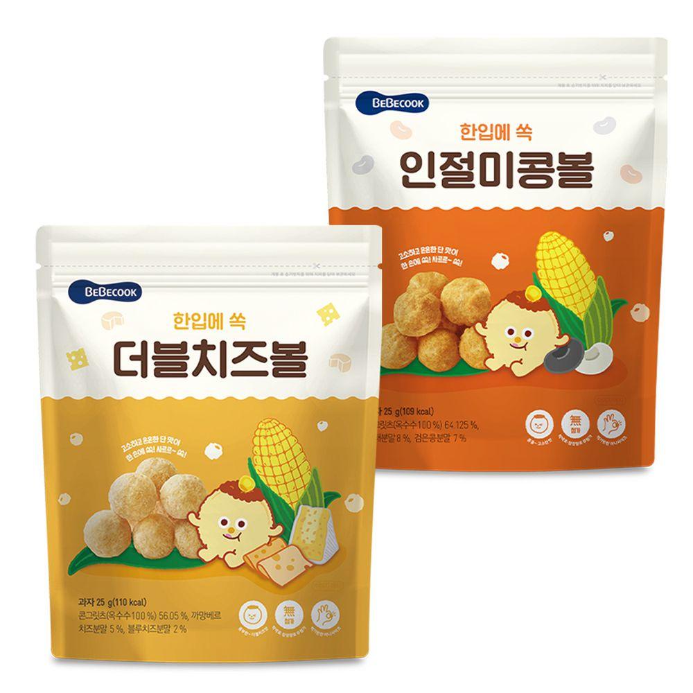 BEBECOOK 寶膳 - 智慧媽媽 嬰幼兒玉米球-二入組(12M以上)-起司*1+原味*1