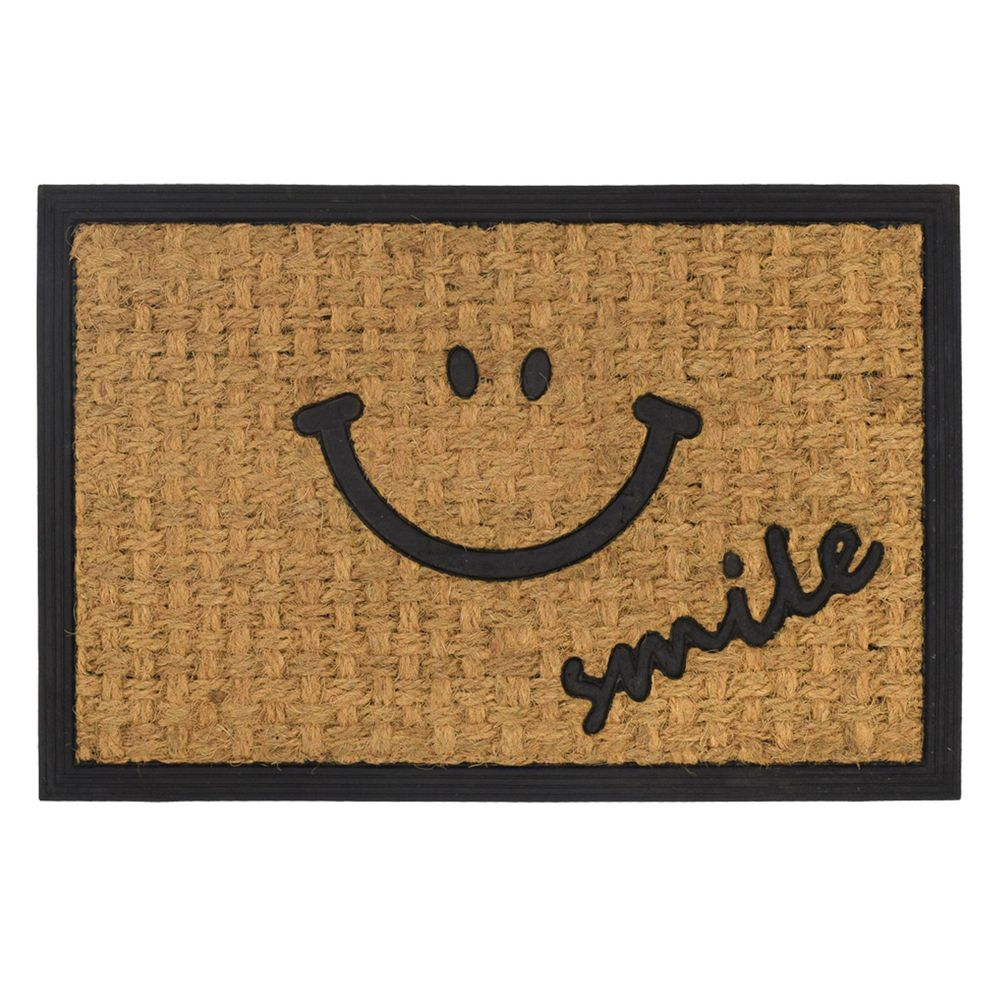 日本 TOMO - (室外款)長方形刮泥沙地墊/腳踏墊-微笑 (約60x40cm)