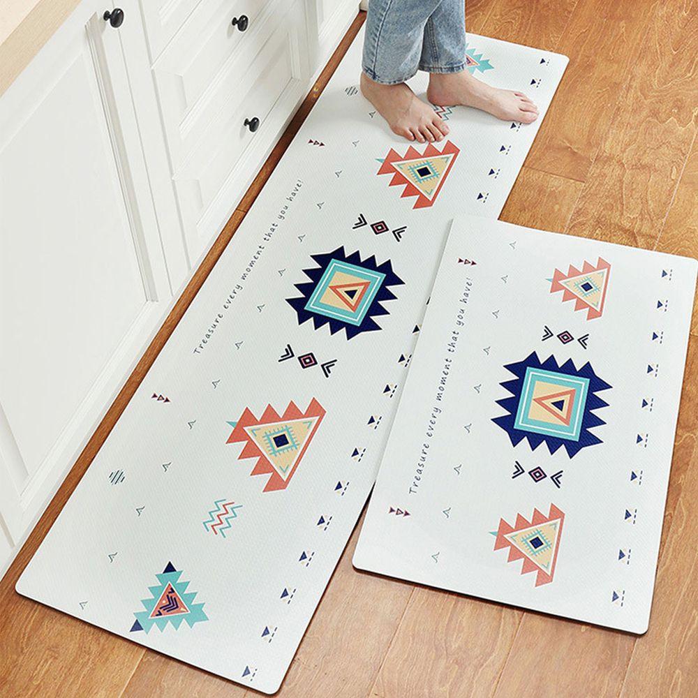廚房仿皮革PVC防水腳踏墊-幾何圖形