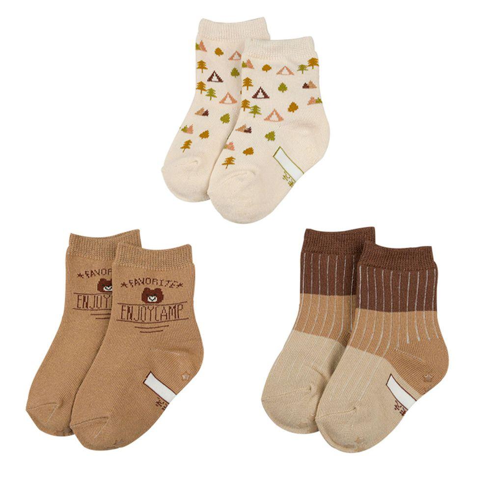 akachan honpo - 男中筒襪3雙組-小熊-咖啡色 (9~14cm)