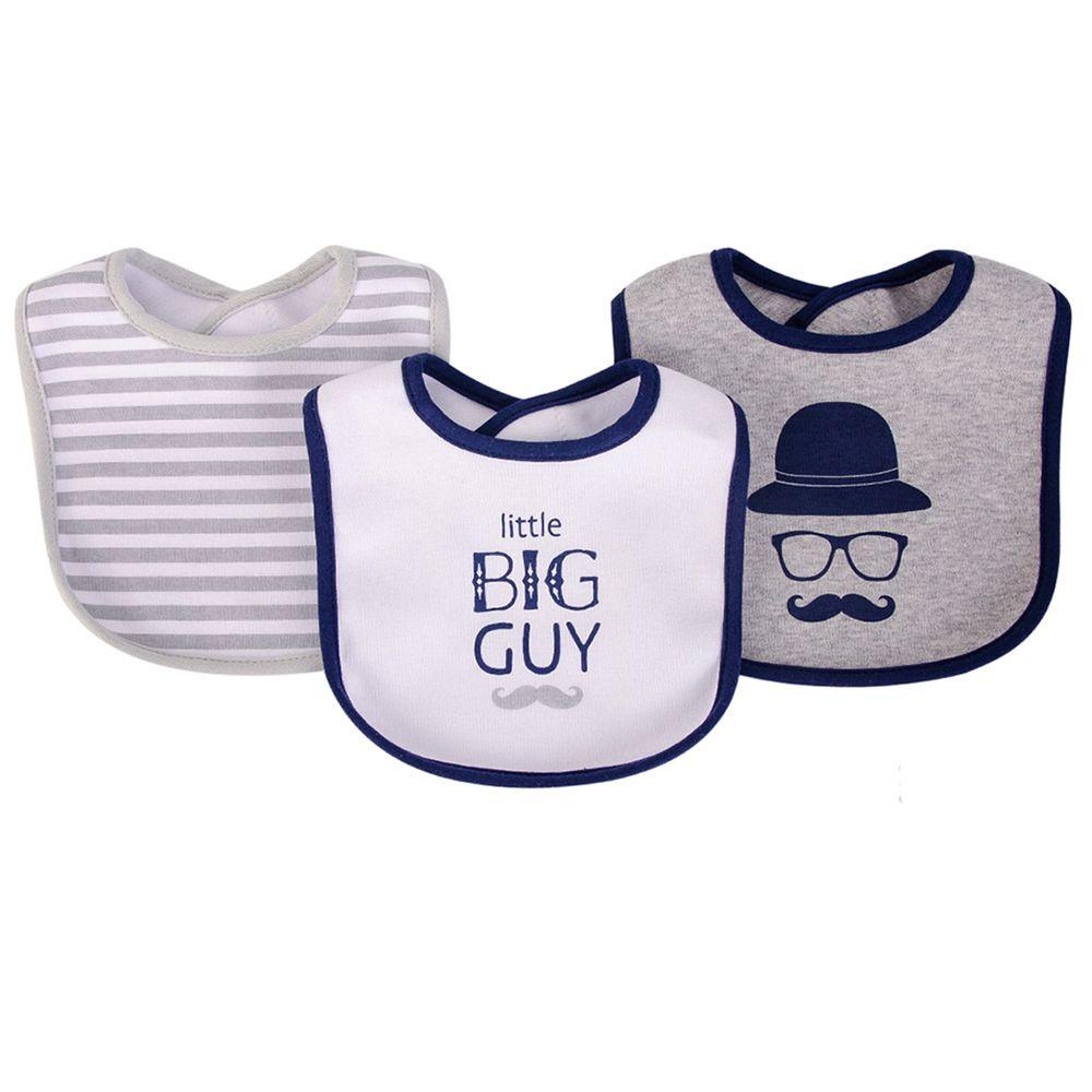 美國 Luvable Friends - 嬰幼兒雙層吸水口水巾圍兜3入組-大人物