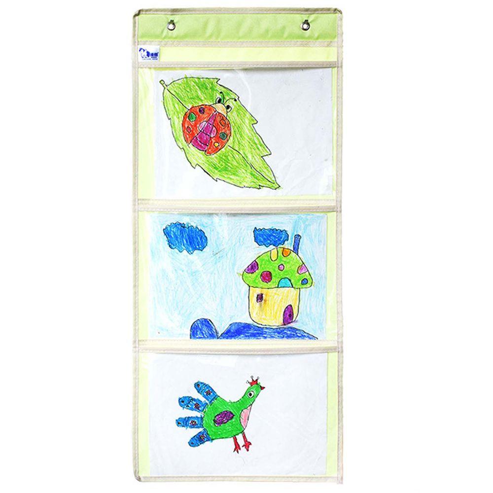 牛津布美術文件通告掛袋-A4橫款三格-綠色 (35*78cm)