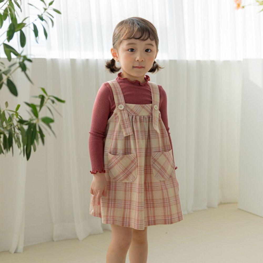 韓國 Orange Mom - 格紋口袋吊帶裙-紅