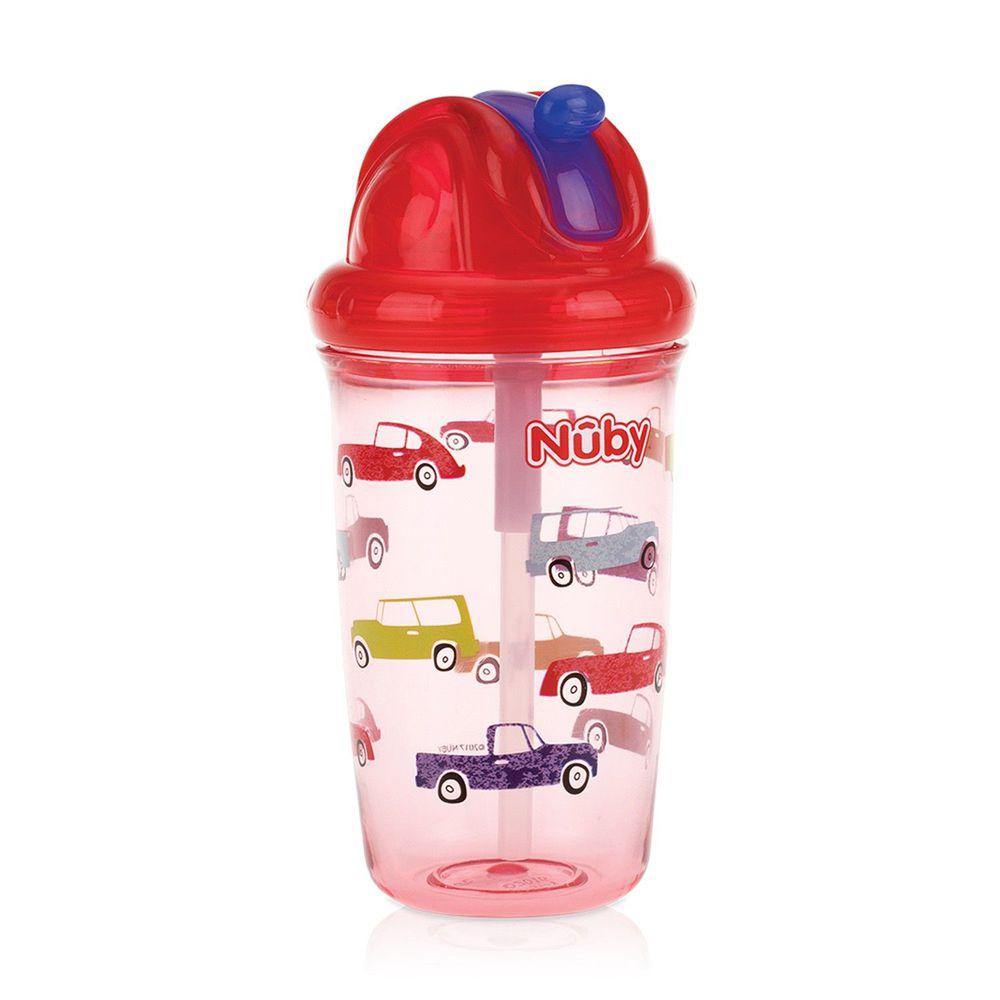 Nuby - 晶透杯系列 防漏學飲杯300ml (粗吸管)-汽車-紅