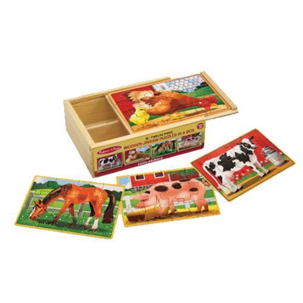 美國瑪莉莎 Melissa & Doug - MD 盒中木製拼圖-農場動物-48片(4種各12片)