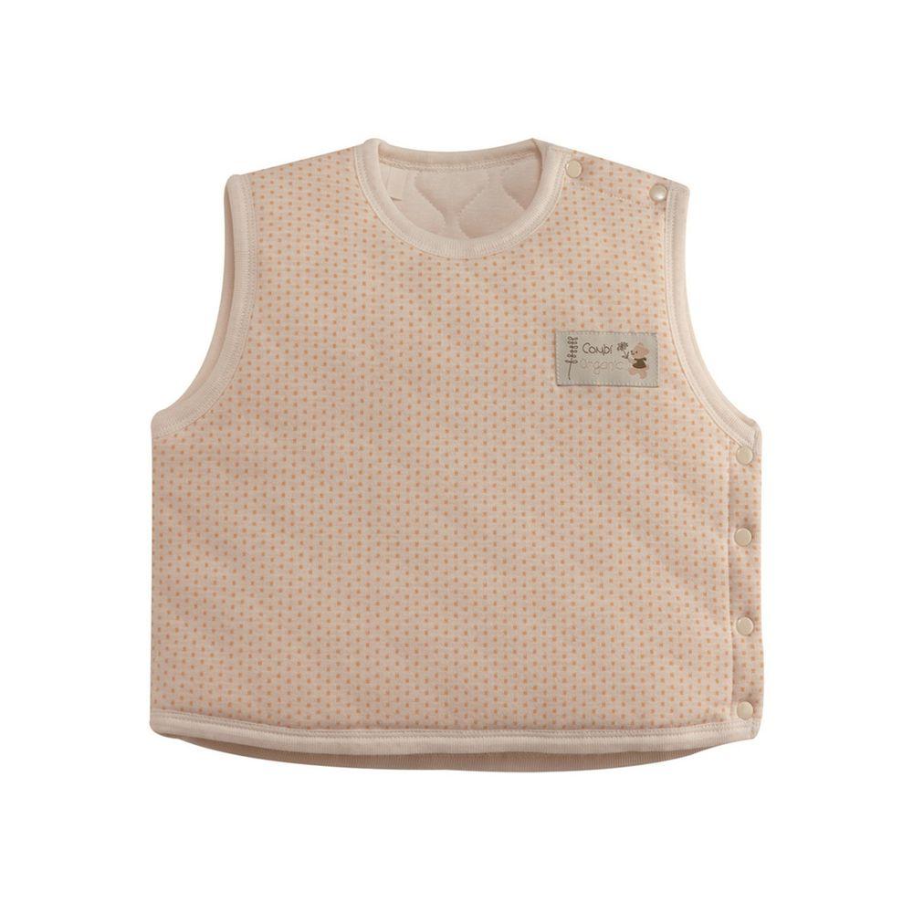 日本 Combi - 圓點側開背心-經典條紋系列-粉橘