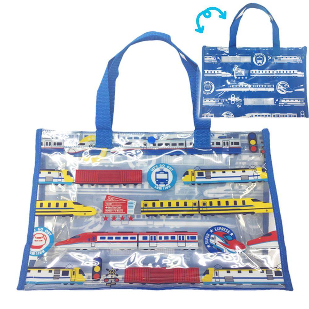 日本服飾代購 - 防水PVC游泳包(雙面圖案設計)-電車-藍 (25x36x13cm)