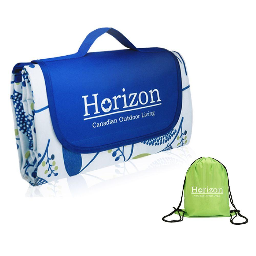 加拿大天際線 Horizon - 加大防潮沙灘野餐墊 - 附肩背收納袋-禪風靛 (195x200cm)