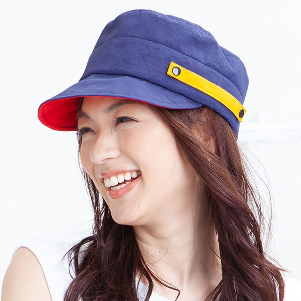 日本 irodori - 【irodori】抗UV防潑水撞色軍帽(可調尺寸)-深藍X紅內裏 (M(58cm))
