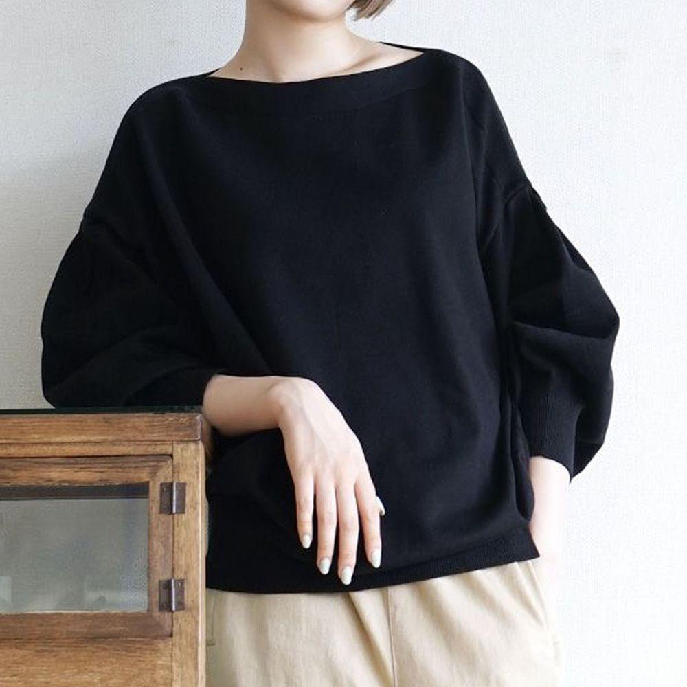 日本 zootie - 澎袖剪裁廣口針織上衣-黑