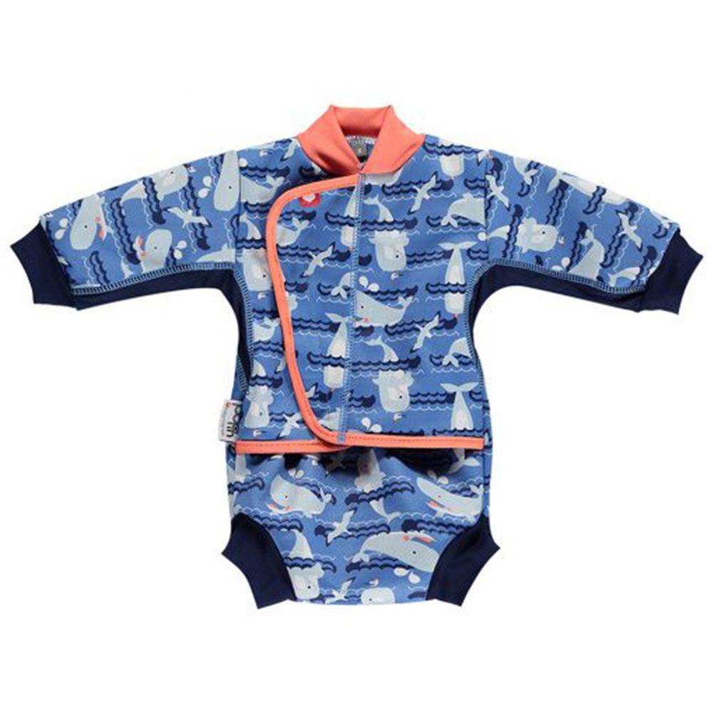 英國Pop-in - 嬰兒抗UV連身保暖泳裝-鯨魚 (M(6-12m))