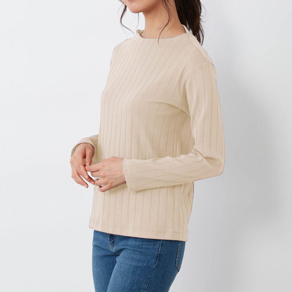 日本千趣會 - 100%棉 直條紋長袖發熱上衣-米白