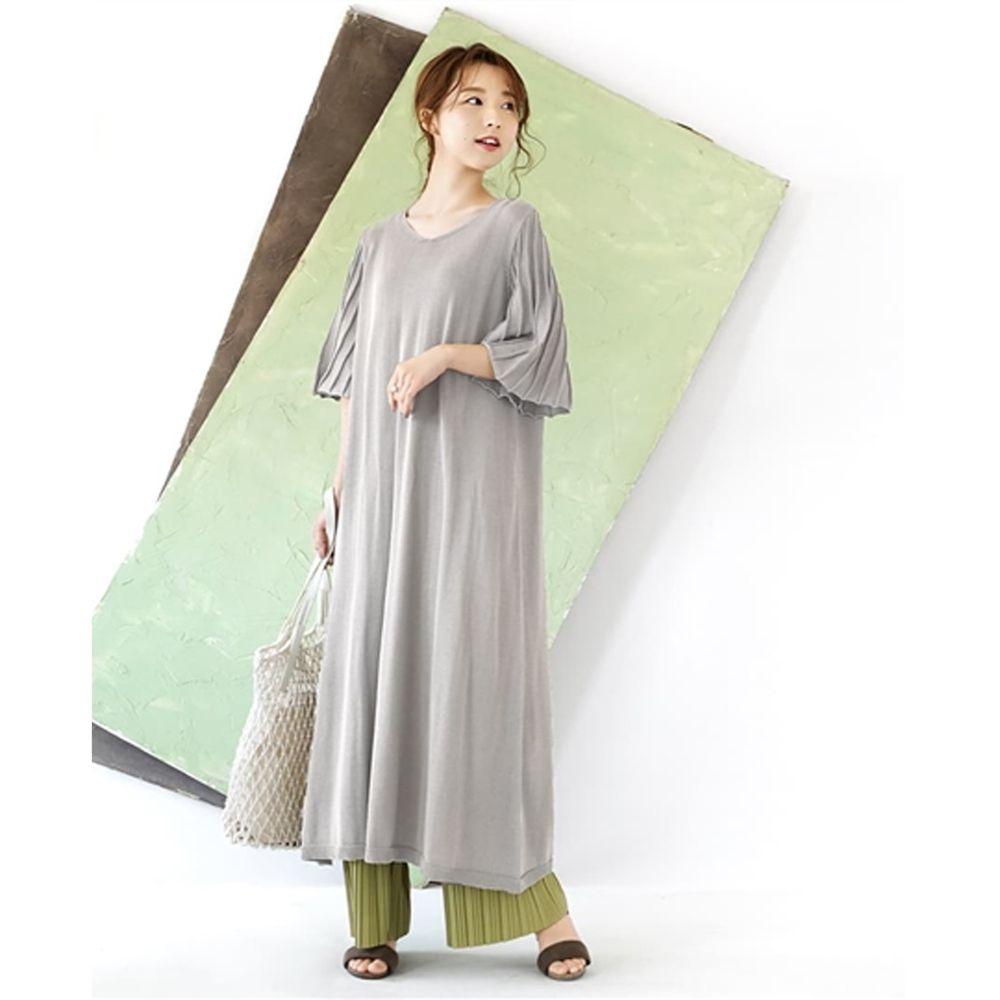 日本 zootie - 涼感防曬速乾 顯瘦羅紋五分袖洋裝-灰 (F)