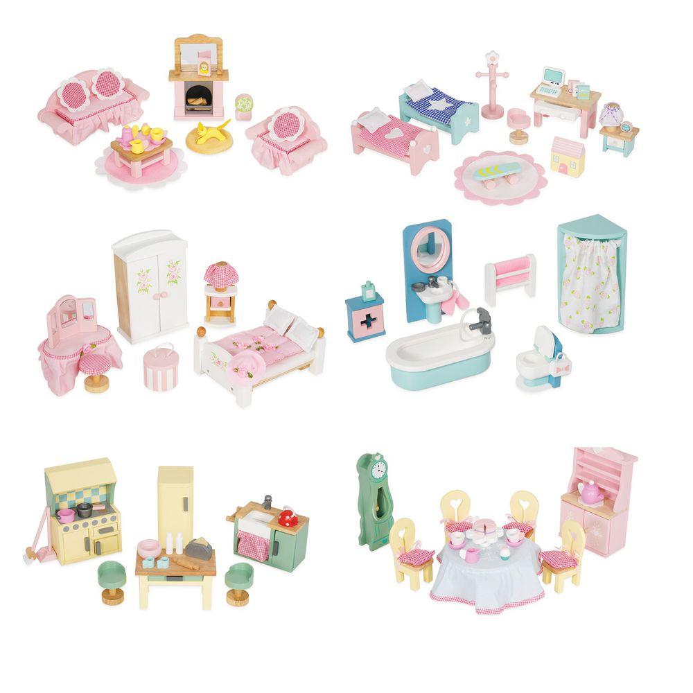 英國 Le Toy Van - Daisy Lane 英式奢華風系列6套組-餐廳+主臥室+客廳+廚房+浴室+小孩房