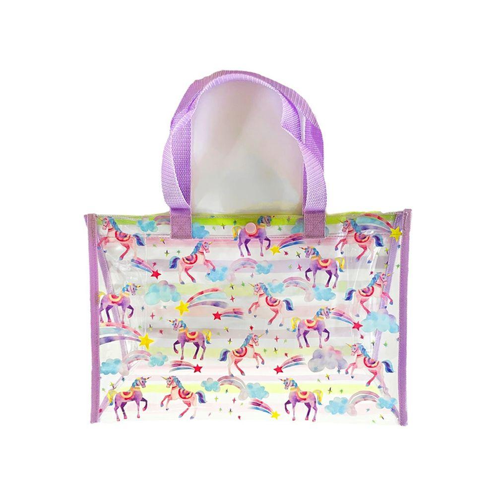 日本服飾代購 - 防水PVC游泳包(雙面圖案設計)-彩色星星獨角獸-薰衣草 (25x36x13cm)