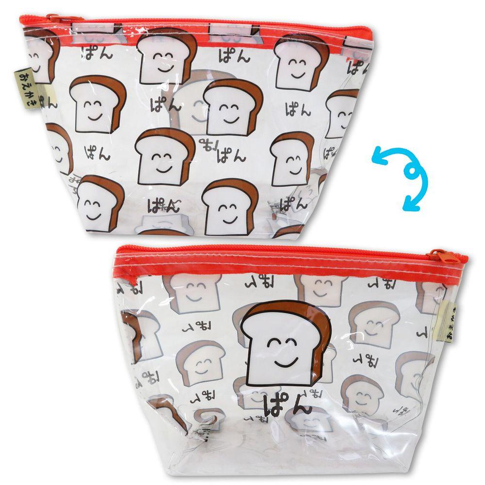 日本 OKUTANI - 童趣日文插畫透明小收納包/化妝包-吐司-橘 (21x12x9cm)
